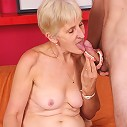 Cock starved mature blonde Irene shows off her dentures while sucking and fucking a cock