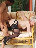 Horny mature slut fucking and sucking her toy boy