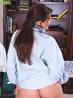 Gorgeous wife Dylan Dole ironing clothes while naked.