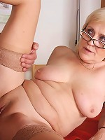 Granny bent over the table